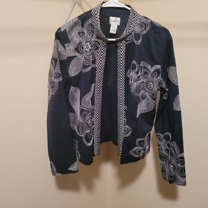 Chico's blue embroidered jacket size 1